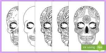 Day of the Dead Skull Mask Decoration Activity - Day of the Dead, mask, color, Mexico, decorate, dia de los muertos