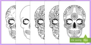 Day of the Dead Skull Mask Decoration Activity - Day of the Dead, mask, color, Mexico, decorate, dia de los muertos