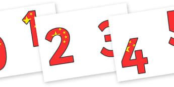 Chinese Flag Display Numbers - chinese flag display numbers, display, numbers, chinese, china, flag, foundation stage numeracy, Number recognition, Number flashcards, counting, number frieze, Display numbers, number posters