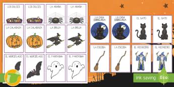 Tarjetas de emparejar: Halloween - noche de brujas, juego, juegos, diversión, didáctica, encontrar, parejas, pares, Spanish