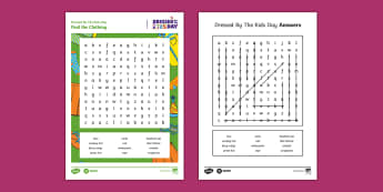 Dressed by the Kids Day Write Up Word Search - Oxfam Dressed by the Kids Day, wordsearch