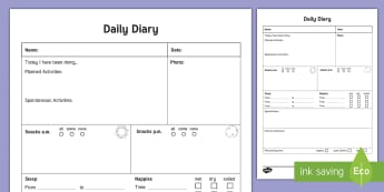 Daily Care Sheet for Toddler, Snacks Only with Photo Record - Daily sheet, daily diary, daily record, care sheet, daily communication, daily sheet, baby diary