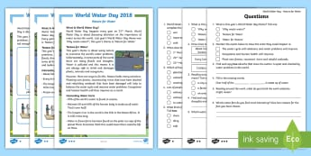 KS1 World Water Day Nature for Water Differentiated Reading Comprehension Activity - World Water Day, Water day, World Water Day  Information, World Water Day Fact File, Water Day Compr