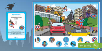 Superheroes Can you Find...? Poster and Prompt Card Pack - Superheroes, superhero, spiderman, batman, superman, can you find