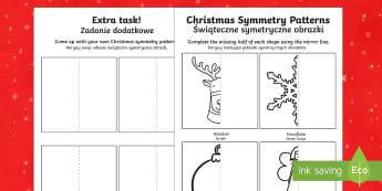 Christmas Symmetry Patterns English/Polish - Christmas Symmetry Worksheet - christmas, symmetry, patterns, symettry, symetry, patterms, chritmas,