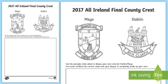Design your own 2017 All-Ireland Final Crest Activity Sheet-Irish, worksheet