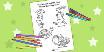 The Tortoise and The Hare Words Colouring Sheet - story books