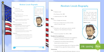 Abraham Lincoln Fast Facts Fact File - Abraham Lincoln Worksheet, American History, Social Studies, Barack Obama, Lyndon B. Johnson, Franklin D.