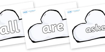 Tricky Words on Weather Symbols (Cloud) - Tricky words, DfES Letters and Sounds, Letters and sounds, display, words