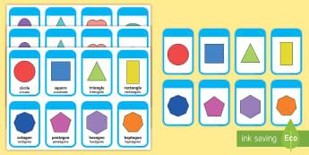 2D Shapes Flashcards English/Spanish - 2D Shape names, Shape Flashcards, Shape Pictures, Shape Words, 2D flashcards, numeracy, geometry, sh