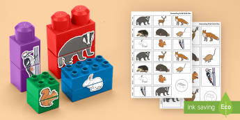 Woodland Animals Matching Connecting Bricks Game - EYFS, Early Years, KS1, animals, living things, British wildlife, fox, badger, squirrel, lego