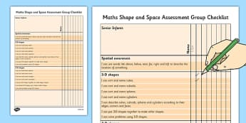 1999 Curriculum Senior Infants Maths Shape and Space Assessment Group Checklist - roi, irish, gaeilge, assessment checklist, maths, senior infants, shape and space