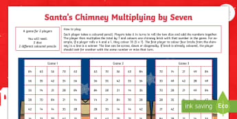 Santa's Chimney - Multiplying By Seven Activity Sheet - multiplication, times tables, multiples, numeracy, maths, mathematics