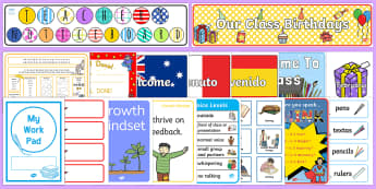 Australian Classroom Set Up Pack - New Class Display
