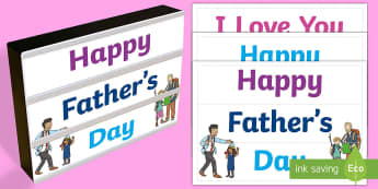 Father's Day Light Box Inserts - Australia, EYLF, Topics and events, celebrations, fathers day, light box inserts, F - 2, signs and l