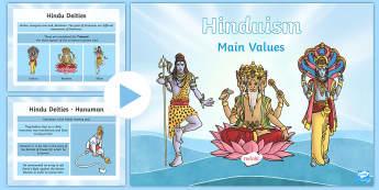 Hinduism Main Values PowerPoint - hindu, gods, souls, dharma, reincarnation, moksha