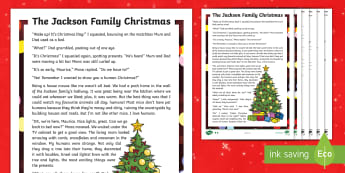 KS2 The Jackson Family Christmas Story Differentiated Reading Comprehension Activity - sats practice, english, fiction, reading, winter