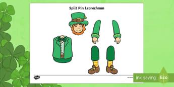 St Patrick's Day Leprechaun Split Pin Activity - KS1& 2 St Patrick's Day UK March 17th 2017, saint patrick, irish, mythical, legend, ireland,