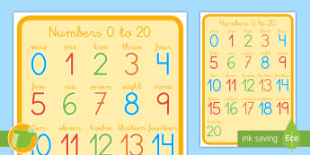 Poster DIN A4 : Los números del 1 al 20 - Inglés - Contar, count, Números, Numbers, Escribir Números, Palabras, Relaciona