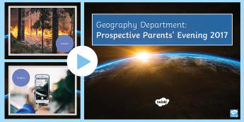 Geography Department Prospective Parent's Evening PowerPoint - KS 3, Geography, Prospective parents evening, blooms taxonomy, verbs