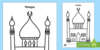Mosque Template Activity Sheet - muslim, islam, place of worship, imam, Worksheet