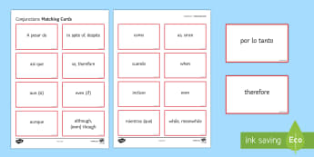 Conjunctions Matching Cards Spanish