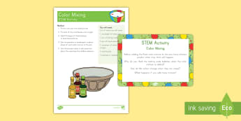 Color Mixing STEM Activity and Prompt Card Pack - STEM, Science, Pre-K Science, Kindergarten Science, Color mixing, color mixing STEM activity, color