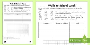 KS1 Walk to School Week Bar Chart Activity Sheet - Walk To School Week, data handling, maths, data, tally chart, tally, worksheet, problem solving, bar
