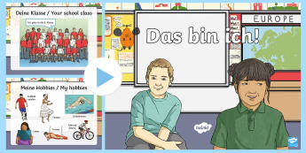 All about me PowerPoint German - MFL, deutsch, basic, languages, vocabulary, phrases