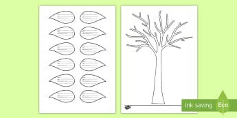 All About Me Family Tree and Leaf Activity Sheet - worksheet, family history, getting to know you, back to school, new class,