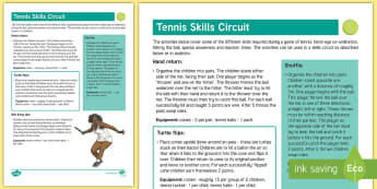 Tennis Skills Circuit Adult Guidance - PE Curriculum Aims KS2, Play competitive game, modified where appropriate, and apply basic principle