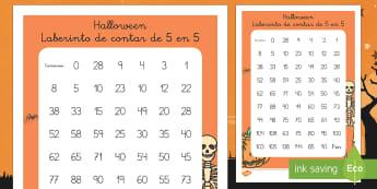 Halloween Ficha de laberinto de contar de 5 en 5