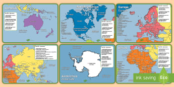 Geography Continents of the World Fact File Display Posters English/Italian - KS1 Geography Continents of the World Fact File Display Posters - ks1, geography, continents of the