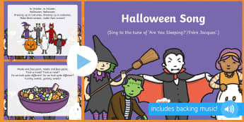 Halloween Song PowerPoint - EYFS, Early Years, Halloween, witches, wizards, magic spell, Hallowe'en, All Hallows Eve, All Saint