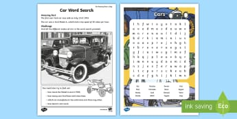Car Brands Word Search - july amazing fact, makes of cars, words, amazing fact, wet play, ks1