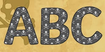 Display Lettering & Symbols (Pirates) - Display lettering, pirates, pirate, jolly roger, display letters, alphabet display, letters to cut out, letters for displays, coloured letters, coloured display, coloured alphabet