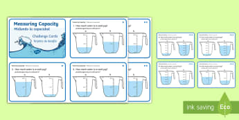 KS1 Measure Capacity Differentiated Challenge Cards English/Spanish - KS1 Maths, choose and use appropriate standard units to estimate and measure, capacity (litres/ml) t