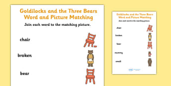 Goldilocks and the Three Bears Word Picture Match Differentiated