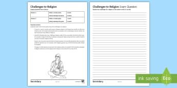 Challenges for Religion Sample Exam Questions - Atheism, Agnosticism, Religion, Secular, Science