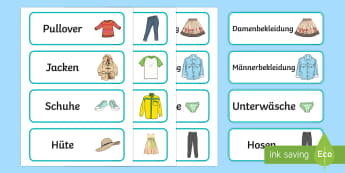Clothes Shop Labels - clothing, names of clothes, learning names of objects, german words for objects