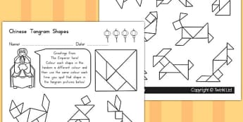 Colour in the Tangram Pictures Activity Sheet - australia, colour, worksheet