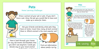 EYFS Pets Home Learning Challenges Nursery FS1 - EYFS Pets, Animals, National Pet Month, shelters, fundraising, caring, feeding, looking after, activ