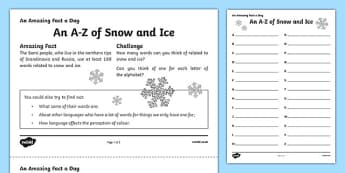 An A Z of Snow and Ice Activity Sheet, worksheet