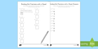Dividing Unit Fractions with Visuals Activity Sheet - division, unit fractions, fractions, whole numbers, visuals, grid, worksheet