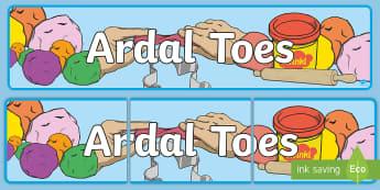 Baner Arddangosfa Ardal Toes - ardal toes, playdough area, cymraeg, welsh, display, arddangosfa,