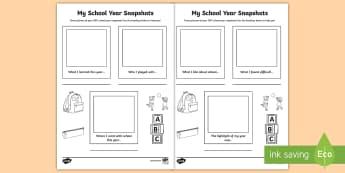 My School Year Snapshot Activity Sheet - ROI, School, June, End of School Year, snapshot, Activity Sheet, Writing, worksheet