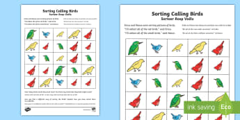 Four Calling Birds Activity Sheet English/Afrikaans - Numbers, Math, numeracy, sorting, birds, nommers, EAL, worksheet, size, colour, counting