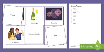 New Year Differentiated Bingo Spanish - Celebrations, Christmas, revision, listening, game, group, january, differentiated