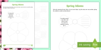Spring Idiom Activity Sheet - figurative language, writing, reading, flowers, Parts of Speech