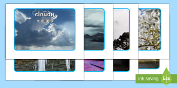 Weather Display Photos English/Spanish - Weather, A4, display, posters, rain, wind, sun, snow, thunder, lightning, waether, weatherdisplay, W